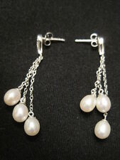 925 Sterling Silver Faux Pearl and CZ Dangle Earrings ~ Perfect for Wedding/Prom