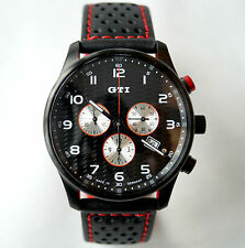 VW Volkswagen Golf GTI Watch Mens / Womens Chronograph / black Dial / Leather