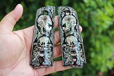 MOP COLT 1911 GRIPS KIMBER SPRINGFIELD Government Inlaid Pearl BLACK ART SKULL
