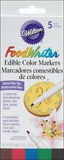 Wilton Food Writer Extra-Fine Tip Edible Color Markers .25oz 5/Pkg - New!!