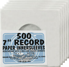"""(500) 07IW 7"""" White Paper Vinyl Record Inner Sleeves EP 45RPM Inners Covers"""