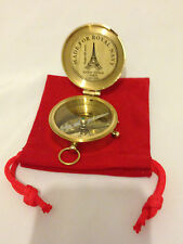 Royal Navy Brass Finish Vintage Style Pocket Flap Compass with  Pouch - Gift