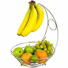 NEW 2 IN 1 CHROME BANANA HOOK HANGER TREE FRUIT BOWL BASKET STAND APPLE ORANGE