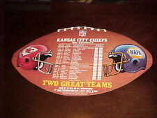 1990 Kansas City Chiefs Large Football Shaped Football Schedule Display