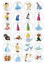 24 Cinderella Wafer / Rice Paper Cupcake Topper Edible Fairy Cake Bun Toppers