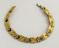 50's 60's VINTAGE Jewelry CROWN TRIFARI GOLD FLOWER BRACELET - 7""