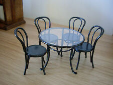 Dollshouse Miniature   ~ BLACK ~ Patio Table & 4 Chairs Set