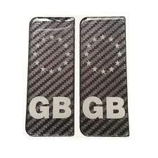 2x GB White Print Galaxy Carbon Gel Domed Number Plate Decals 107x42mm