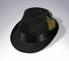 Hip Hop Felt Black Top Hat 80'S Fedora Hipster Blues Brothers Costume Accessory