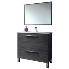 Mobile bagno set con specchio lavandino arredamento design grigio 305412G