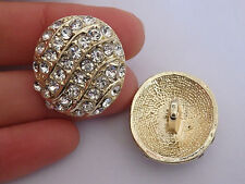 2 large crystal buttons rhinestone diamante wedding upholstery wedding gold UK 2