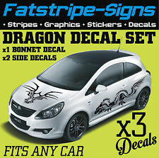 DRAGON GRAPHICS DECALS STICKER SIDE & BONNET CAR VINYL FORD VW CORSA MINI x3