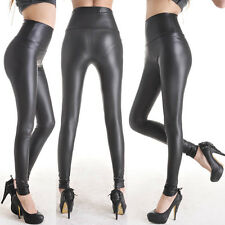 Women's Stretchy Faux Leather High Waist Pants Skinny Trousers Leggings Size XXL