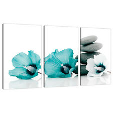 Set of 3 Teal Floral Wall Pictures Split Canvas Art Bedroom Print 3072