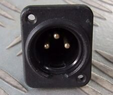 XLR CHASSIS PLUG (MALE) 3 PIN BLACK PLASTIC CASE.  AUDIO or POWER