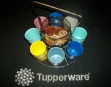 8 Tupperware 6oz Tumblers #1251 ~Silver Carousel Rack 25oz Bowl ~Snacks ~Crafts