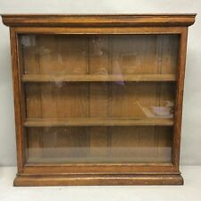 "Oak Glass Faced Hanging Wall Display Cabinet 24 3/4""x 24"""