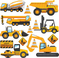 Construction Vehicles - 14 Pack Wall Stickers Tractor Digger Dumper Truck Crane