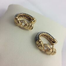 PHILIPPE CHARRIOL 18K YELLOW GOLD WITH DIAMONDS HUGGIE EARRINGS