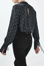 TOPSHOP BOUTIQUE POLKA DOT FUNNEL NECK BLOUSE SIZE UK 8 EU 36 US 4