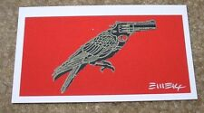"""EMEK Handbill Silkscreen Print BIRD GUN Signed 3.25 X 2"""" like poster art"""