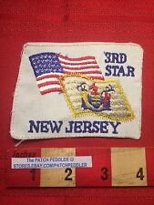 Vintage (shaped odd) Patch ~ New Jersey & USA Flags. 3rd Star. Third State 64K3