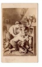 unusual CDV painting boys moustrap mouse cats eating mice signed broadway NY