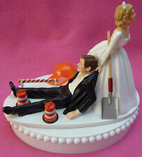 Wedding Cake Topper Construction Worker Road Crew Highway Work Themed Grooms Top
