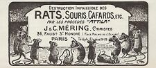 "PUBLICITE  "" ATTILA "" RATICIDE RAT SOURIS  AD  1925  * 10F"