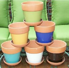 """SET OF 6 CLAY POTS 4 1/2"""" TERRA COTTA GLAZED BODY WITH SAUCERS SIX COLORS"""