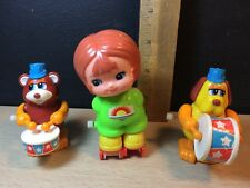 Tomy lot Wind-up Drumming Dog Bear and Roller girl 1979 work Vintage Taiwan