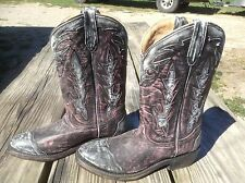 Women's 6 black w/pink distressed Double-H/Sonora Leather Western Cowboy Boots.