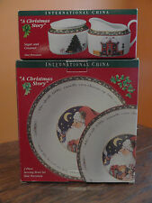 SUSAN WINGET International China Christmas Story Serving Bowl Sugar Creamer Set