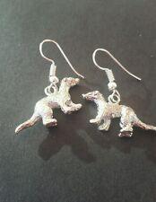Ferret earrings weasel Polecat stoat mink silver plated ear wires pewter