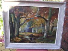tableau ancien peinture HUILE sur PANNEAU Y LE FUSTEC 1951 - paysage sous bois