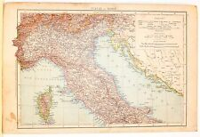 Carta geografica antica ITALIA SETTENTRIONALE e CENTRALE 1880 Old antique map