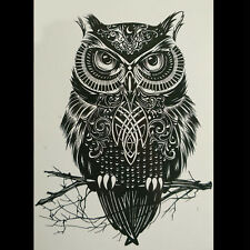 1 Sheet Watertight Owl Temporary Tattoo Large Arm Fake Sticker High Quality AU