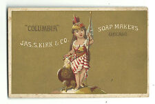 Old Trade Card Jas S Kirk Soap Makers Chicago Columbia Girl Eagle