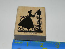 Stampin Up Rubber Stamp Silhouette of Lady Woman Girl Putting Letter in Mailbox
