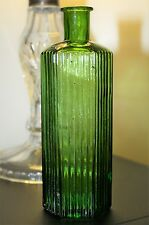 Antique Green Hexagonal Glass Chemist Bottle 6 inches high
