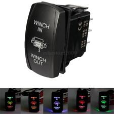7-Pin Laser Blue Momentary Rocker Switch WINCH IN/OUT 20A 12V (ON)-OFF LED Light