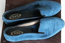 BNWOT Tod's Teal Blue Suede Leather Flats Womens UK 5 38 Loafer Ballerina