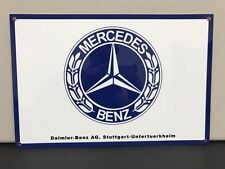 Mercedes benz rare vintage advertising sign baked large 18x12 thick
