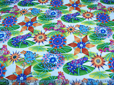 3 Yards Quilt Cotton Fabric- Paintbrush Studio Calypso Frogs Bright Floral White