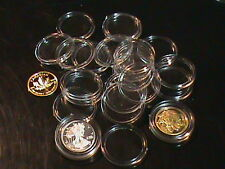 Lot of 20  1 Gram  Silver Gold Round Acrylic Holders Plastic Cases airtite