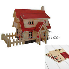 Hot Selling Educational Creative Gift Children Toy Red House Wooden Wood Puzzle