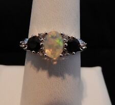 1.31cts Size 6 Ethiopian Opal, Black Spinel & White Topaz Sterling Silver Ring