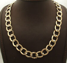 """Ladies 18"""" Hammered Curb Style Oval Link Chain Necklace Real 14K Yellow Gold QVC"""
