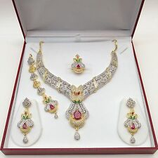 Indian Bridal Jewellery Bollywood American Diamond Ethnic Wear Necklace Set