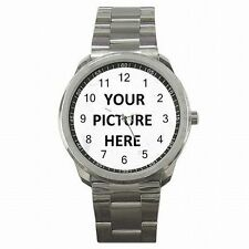 Stainless Steel Men's Watch Custom Personalized YOUR PICTURE PHOTO LOGO